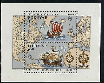 Faroe Islands 1992 Europa/viking Ship/columbus Ship/map North/central Atlantic