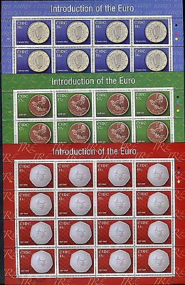 IRELAND 2002 INTRODUCTION EURO CURRENCIES/COIN/EUROPA/ORGANIZATIONS/UE sheet MNH