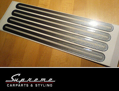 Bumper Socket Strips - 4 Pcs 330x25mm - Carbon Look + Reflector Strip