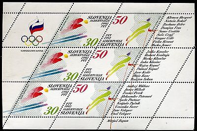 SLOVENIA 1992 WINTER OLYMPICS ALBERTVILLE/SKI JUMPER/ALPINE SKIER/FLAG mini-she