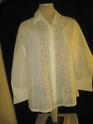 Vintage 1970's Antique White Embroidered Mexican Dress Shirt Size Large
