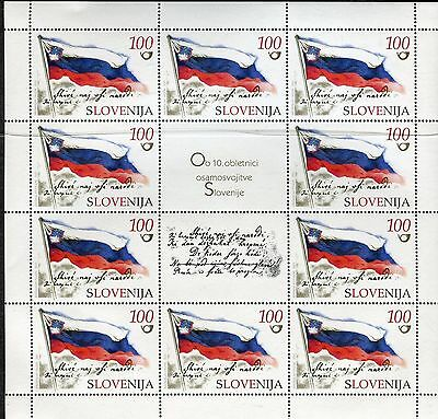 SLOVENIA 2001 INDEPENDENCE 10th ANNIVERSARY/NATIONAL FLAG/EMBLEM sheet