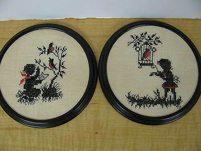 2 Finished Cross Stitch Silhouette Shadow Art Completed Boy Girl Birds Music