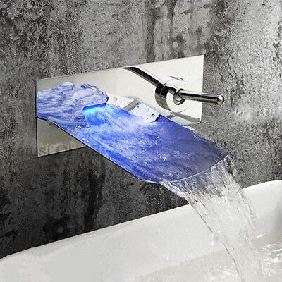 LED Color Wall Mount Bathroom Waterfall Sink Faucet Chrome Brass Basin Mixer Tap