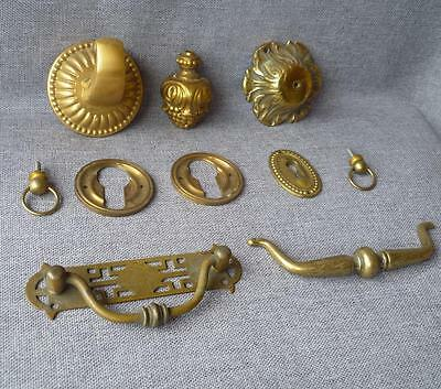 10 vintage hardware lot France early 1900's ornaments made of brass and bronze