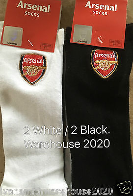 Mens Arsenal Trainer Socks 2 x 2 =4 Pairs Fully Licenced  Size 6 / 11