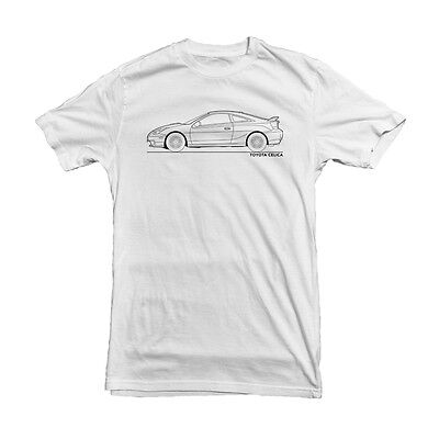 Men's T-Shirt Toyota Celica Car Outline White, S M L XL XXL High Quality Print