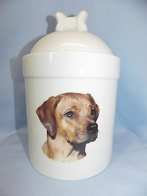 Rhodesian Ridgeback Dog Porcelain Treat Jar Fired Head Decal on Front 8 In Tall