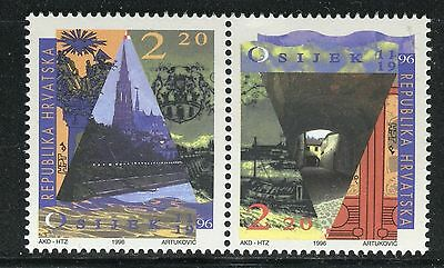 CROATIA 1996 CITY of OSIJEK 800th ANN/RIVER BANK/CHURCH/BOATS/ARMS/ARCHITECTURE