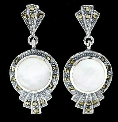 Art Deco Mother Of Pearl Marcasite Earrings 925 Sterling Silver