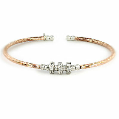 "Rose Gold-Plated Sterling Silver Bangle, 8"" (NEW bracelet, 925, 6g) #3504"