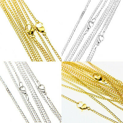 """Lots 30/50/100/500/1000pcs Silver/Gold plated chain finding With Clasp 22"""",2mm"""
