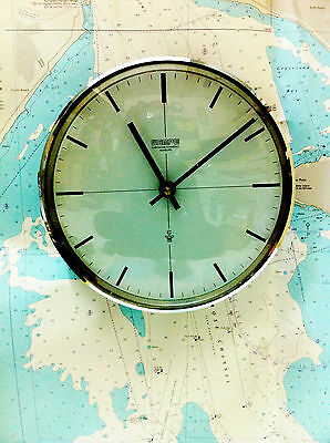 "Vintage Marine Ship Clock "" Wempe "" Quartz Clock Made In Germany"