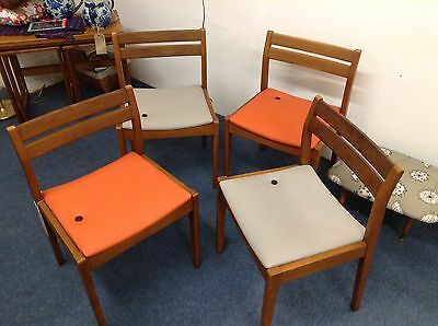 Vintage Retro Teak & Re-Upholstered Orange & Grey Vinyl Dining Chairs x 4