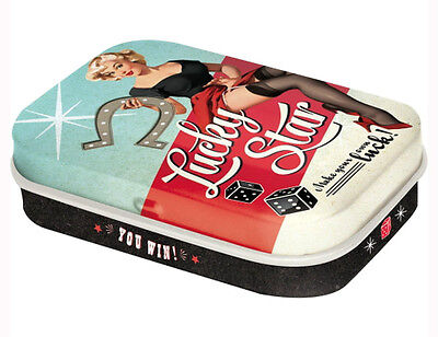 Retro Tin Metal Pill Box 'LUCKY STAR' w Mints Vintage look Pin up Make your luck