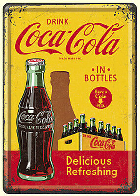Retro Tin Metal Postcard COCA-COLA Mini Sign 10x14cm Licensed Product Yellow Red