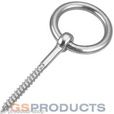 Stainless Steel Wood Screw Lag Thread RING Eye Bolt 6mm x 60mm FREE P+P