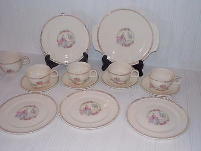 Salem China Colonial Couple & Rose Children's Dishes Dinnerware 1930's'-1940's