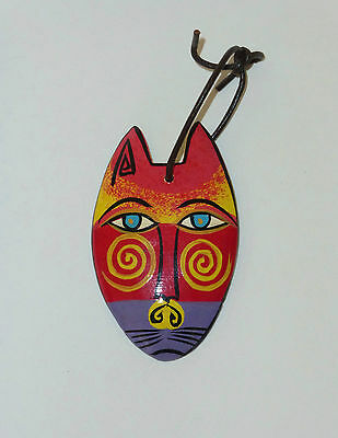 LAUREL BURCH Hand Painted Wood Cat Pendant Ornament PERFECT MINT CONDITION