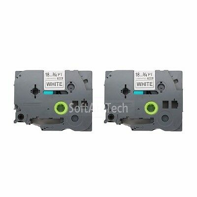 2pk Black on White Label Tape Compatible for Brother PTouch TZ TZe 241 18mm 3/4""