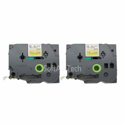 2pk Black on Yellow Label Tape Compatible for Brother PTouch TZ TZe S641 18mm