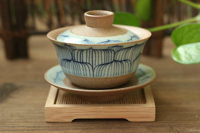 Hand Paintted Lotus Pattern,Yixing Clay Coarse Pottery Gaiwan 150ml