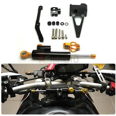 Steering Stabilizer damper and Bracket for 13-17 YAMAHA MT-09  FZ-09 14 15 BKGD