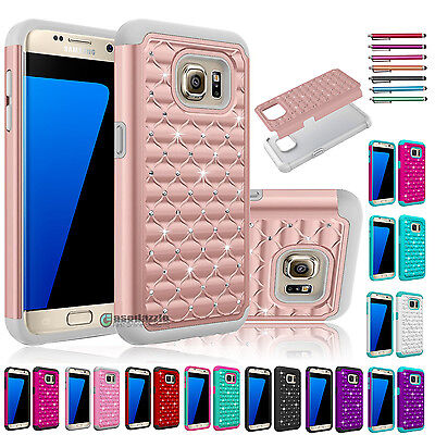 Hybrid Rubber Bling Crystal Case Cover for Samsung Galaxy S7/S7 edge / S7 Active