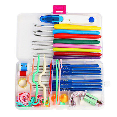 16 Sizes Knitting Tools Needle Yarn Crochet Hook Stitch Supplies Kit w/ Case g#r