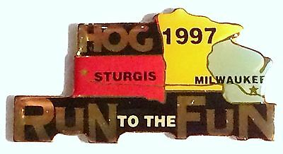 """Harley Davidson Owners Group HOG 1997 """"RUN To The Fun"""" Event Vest/Jacket PIN"""