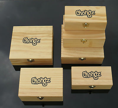 Chongz Deluxe Wooden Rolling Box Small Medium Large Smoking Station *Free Pipe*