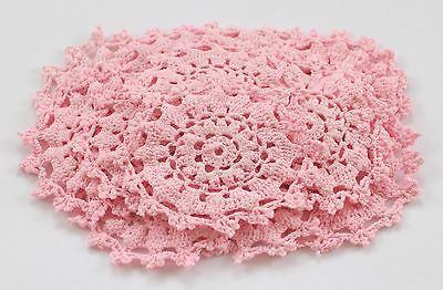 20 x Crochet doilies in Pink for millinery , hair and crafts