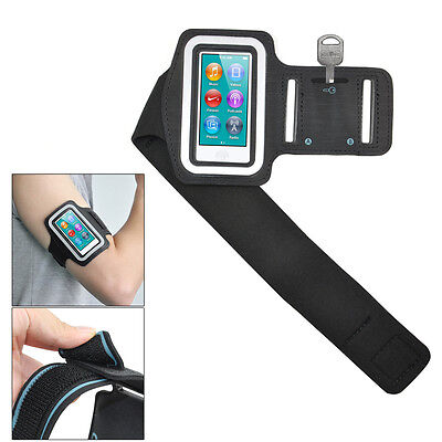 Black Sports Gym Jogging Black Armband Case Cover for Apple iPod Nano 7 7th  SY