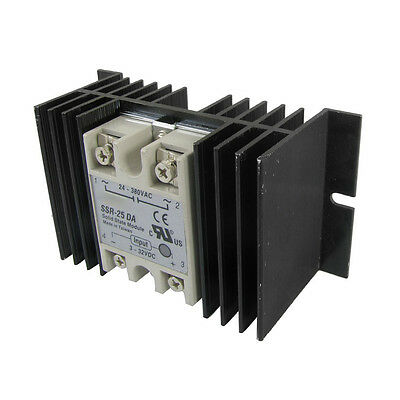 DC to AC Solid State Relay SSR-25DA 25A 3-32V 24-380V + Aluminum Heat Sink SY