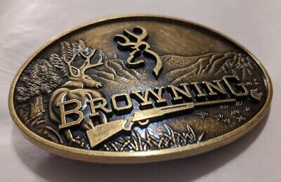 Browning Embossed Metal Browning Logo Belt Buckle Bronze color Beautiful buckle