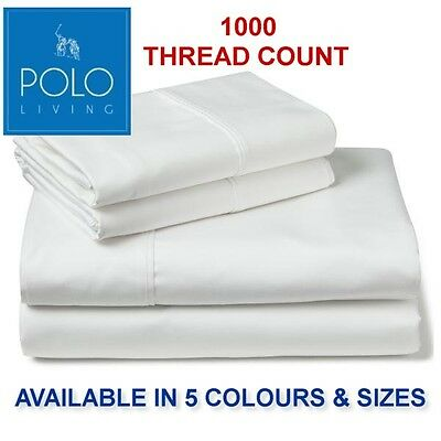 1000Tc Polo Fitted Sheet Set  - Single, King Single, Double, Queen & King