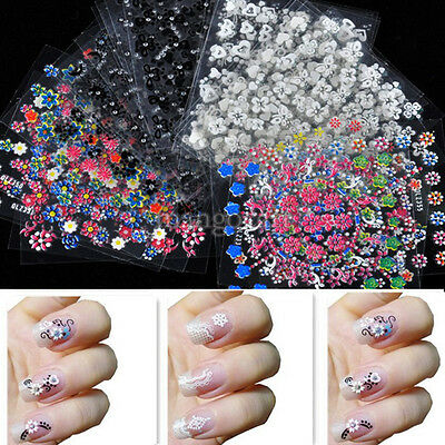 Lot 50 DIY 3D Stickers Tips Feuilles Fleurs Ongles Vernis Gel UV Décor Nail Art