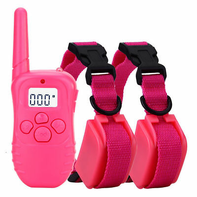 Pink Remote LCD 100LV 300Meter Electric Shock Vibrate 2 Dogs Pet Training Collar