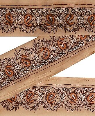 Vintage Sari Border Antique Used Embroidered Indian Trim Peach Ribbon Lace 1YD