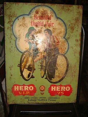 Old vintage Tin Hero Bicycle Sign Board from India 1950