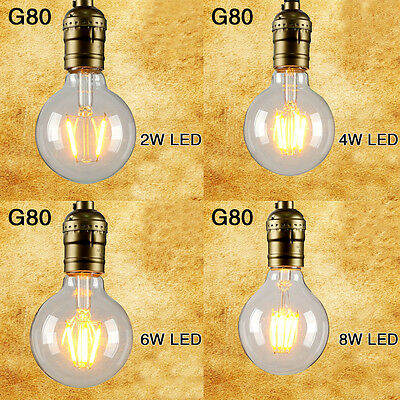 2W/4W/6W/8W Vintage Retro Edison Bulbs ES E27 LED Filament Light Bulb G80 Lamp