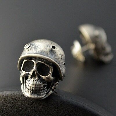 Classical Skull Soldier 925 Silver Vintage brooch Accessories Cos Gift