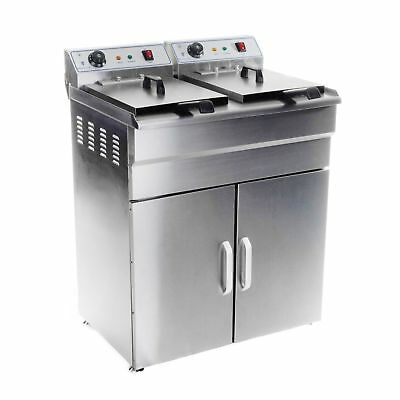 COMMERCIAL DEEP FAT CHIP ELECTRIC DOUBLE TANK FRYER 2x16 L TANKS 6 kW POWER NEW