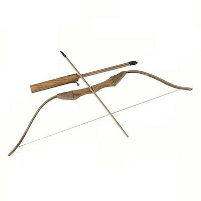 NEW WOODEN BOW WITH 3 ARROWS AND QUIVER--Kids Wood Archery Bow for Hunting (TOY)