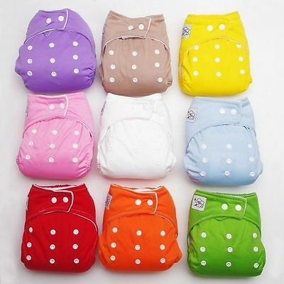 Diaper + Inserts Adjustable Reusable Lot Baby Washable Cloth Diaper Nappies
