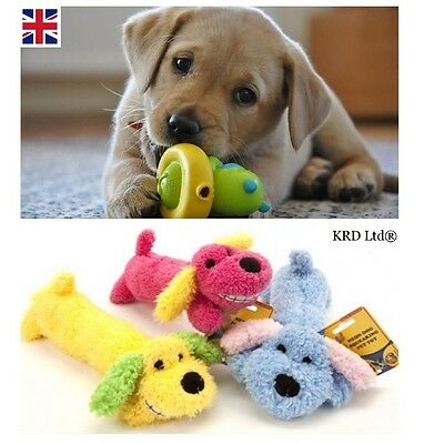 Dog SQUEAKY NEON PLUSH TOY Squeaker Sound Cat Puppy Pet Chew Fetch Training Toys