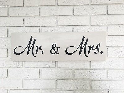 "Large Rustic Wood Sign - ""Mr. & Mrs."" - Fixer Upper, Vintage Shabby"