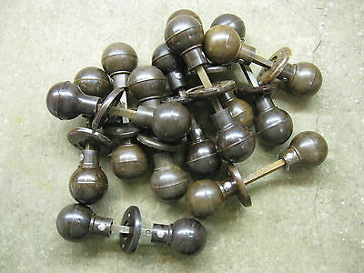 Pr Original reclaimed 1930's Art Deco Bakelite Walnut Round Ball Door Knobs BA01