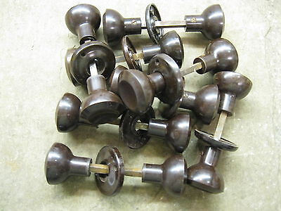 Pr Original reclaimed 1930's Art Deco Bakelite Walnut Concave Door Knobs BA04