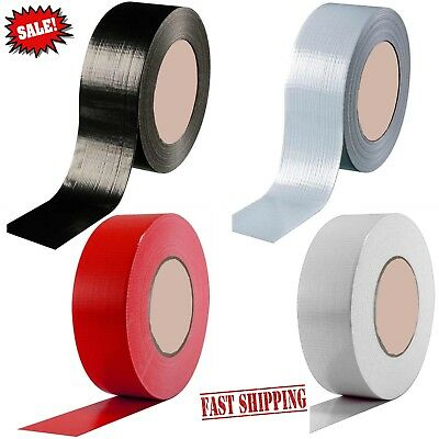 "Duct Gaffa Gaffer Waterproof Cloth Tape Silver Black 48mm 2"" x 50m black red"